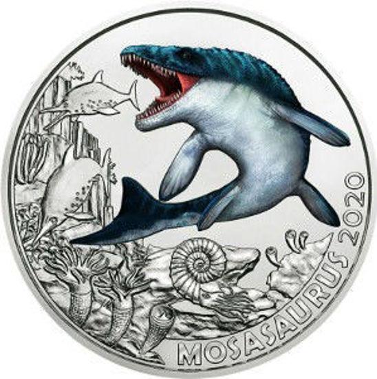 """Picture of Австрія 3 євро 2020. Мозазавр Гоффмана. Серія """"Супер Динозаври"""". UNC"""
