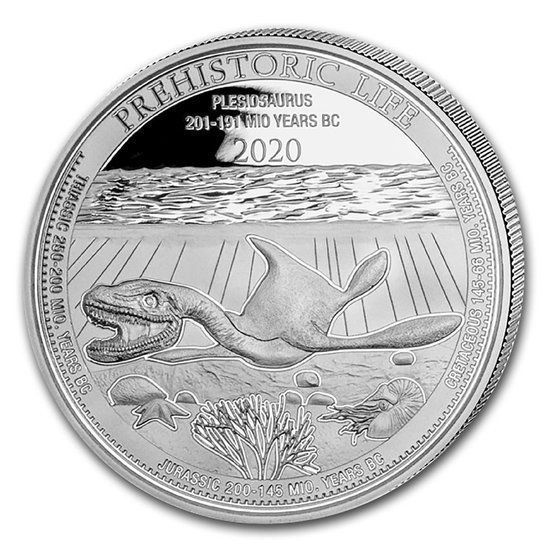 """Picture of Серебряная монета """"Плезиозавр"""" доисторическая жизнь 31.1 грамм Конго 2020 г."""