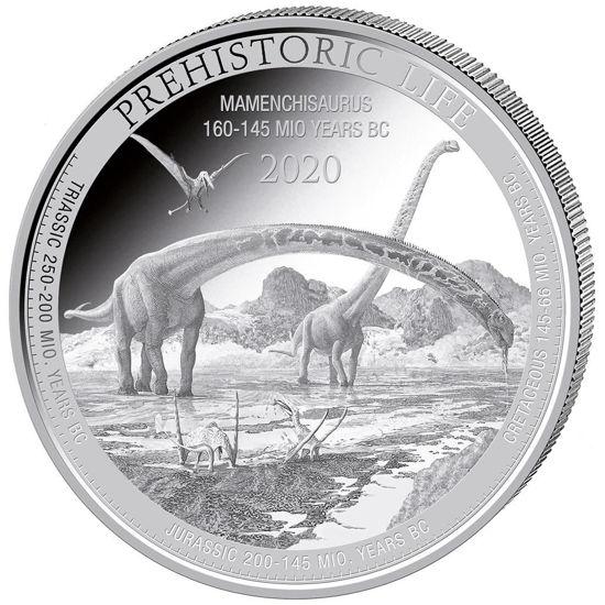 """Picture of Серебряная монета """"Маменчизавр"""" доисторическая жизнь 31.1 грамм Конго 2020 г."""