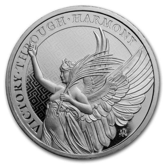 """Picture of Серебряная монета """"Победа - добродетели королевы"""" 31,1 грамм 2021 о. Святой Елены"""