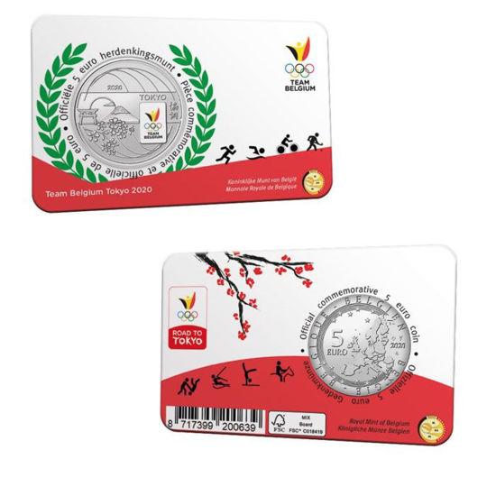 Picture of Бельгія 5 євро 2021, Олімпіада в Токіо 2020: Олімпійська збірна Бельгії, кольорова емаль BU (блістер)