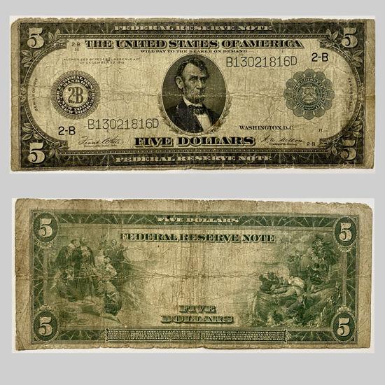 "Picture of 5 доларів США 1914 р номер ""B 13021816 D"""