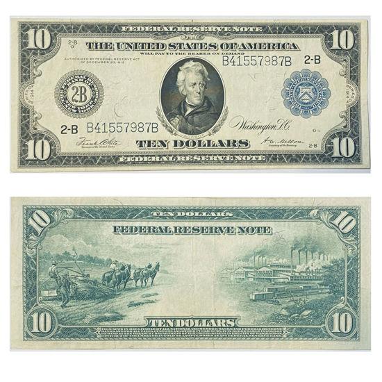 "Picture of 10 доларів США 1914 р. номер ""B 41557987 B"""