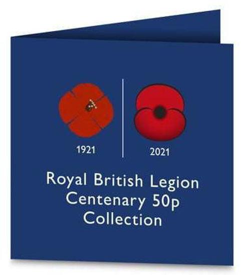 """Picture of Англія, Джерсі 50 пенсів 2021, Набір з 5 монет """"100 років Королівському британському легіону"""" (в буклеті)"""