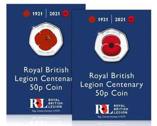 """Picture of Англия, Джерси 50 пенсов 2021, Набор из 2 монет """"100 лет Королевскому британскому легиону"""" (в блистерах)"""