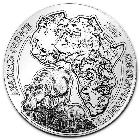 "Picture of Серебряная монета ""Африканская дикая природа - Бегемот"" 31.1 грамм Руанда 2017"