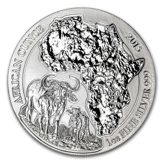 "Picture of Серебряная монета ""Африканская дикая природа - Бизон"" 31.1 грамм Руанда 2015"