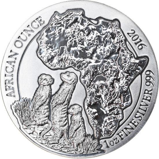 "Picture of Серебряная монета ""Африканская дикая природа - Суррикат"" 31.1 грамм Руанда 2016"