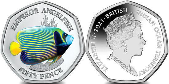 Picture of Британская территория в Индийском океане 50 пенсов 2021, Императорская рыба-ангел