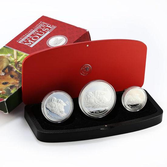 """Picture of Місячний срібний набір """"рік Щура - Миші"""" 108.85 грам 2008 р."""