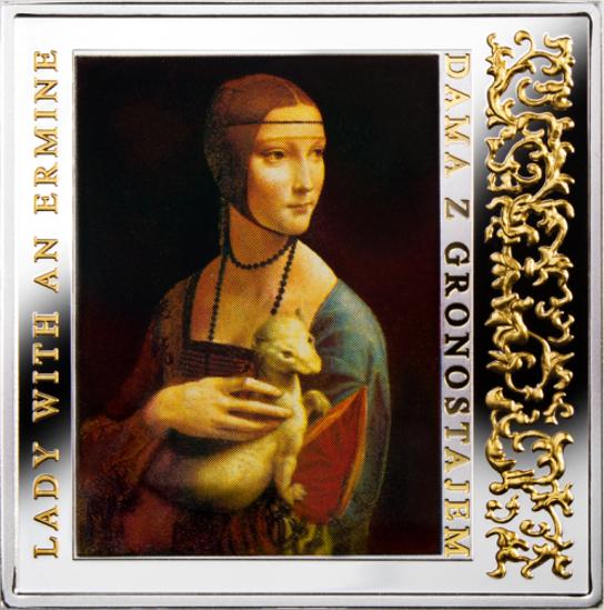 """Picture of Срібна монета """"Дама з горностаєм - Шедеври Відродження"""" 28.28 грам"""