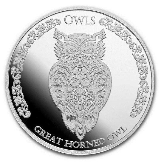 "Picture of Серебряная монета ""Сова - Большая рогатая сова"" 31.1 грамм Токелау"