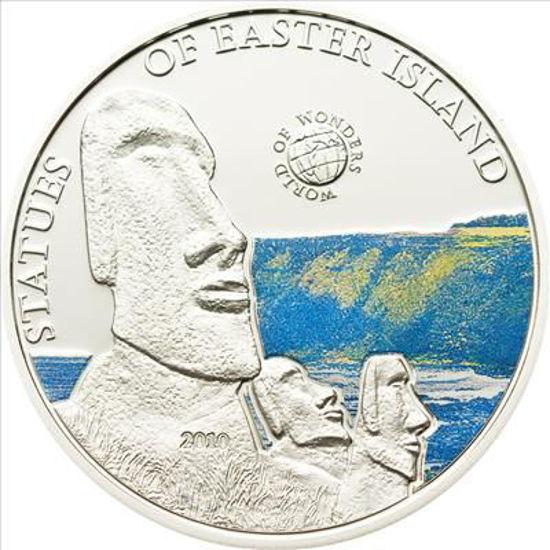 """Picture of Срібна монета Світ чудес """"Острів Пасхи"""" 25 грам Палау 2010"""