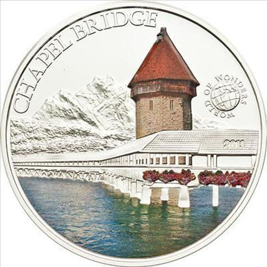 """Picture of Серебряная монета Мир чудес """" Часовенный мост """" 25 грамм Палау 2010"""