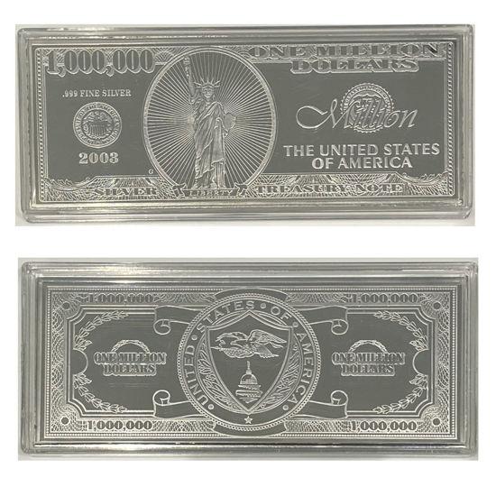 Picture of Срібна купюра 1 000 000 доларів США 124.4 г