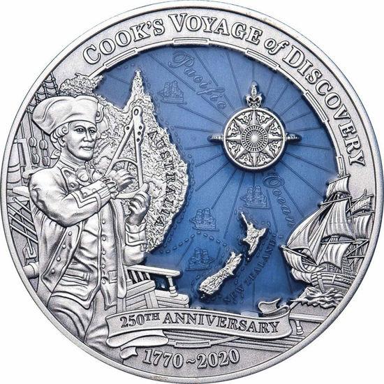 """Picture of Серебряная монета """"Капитан Кук 250 лет кругосветному путешествию"""" 93.3 грамм 2020 г."""