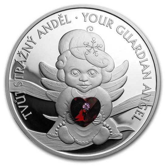 "Picture of Срібна кришталева монета ""Ангел-охоронець"" 31.1 грам 2019 р."