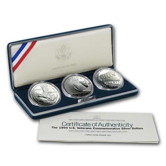 Picture of США Набір з 3-х пам'ятних срібних монет Ветерани США.