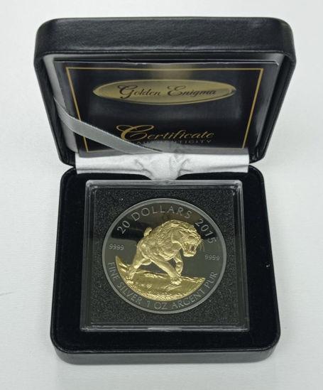 "Picture of Серебряная монета ""Саблезубый  тигр "" (Gold Black Empire Edition)  Канада 2015"