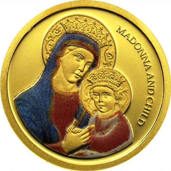 """Picture of Золотая цветная монета """"Мадонна с младенцем"""" 1,24 грамм  2007 г."""