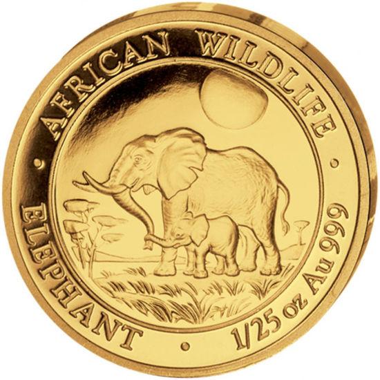 """Picture of Золотая монета """"Слон - серия """"Африканская живая Природа"""" 1.24 грамм 2011 г."""