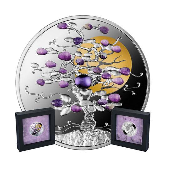 """Picture of Срібна монета """"Дерево щастя з аметистомі"""" 31.1 грам 2021 р. Ніуе"""
